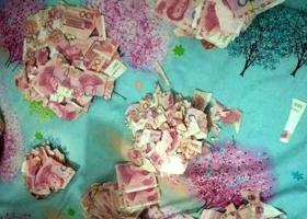 Мужчина провел два дня в безуспешных попытках склеить кучу денег, которые изорвал его 5-летний сын