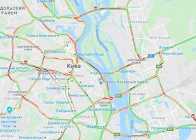 Центр Киева и выезды с левого берега утром во вторник