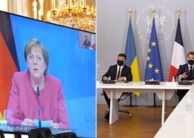 Макрон, Меркель и Зеленский призвали Путина отвести войска от границ Украины