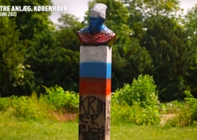 В Дании памятник Тарасу Шевченко разрисовали в цвета российского флага